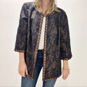 Eve Hunter Size 20 Navy and Copper Jacket with Beading